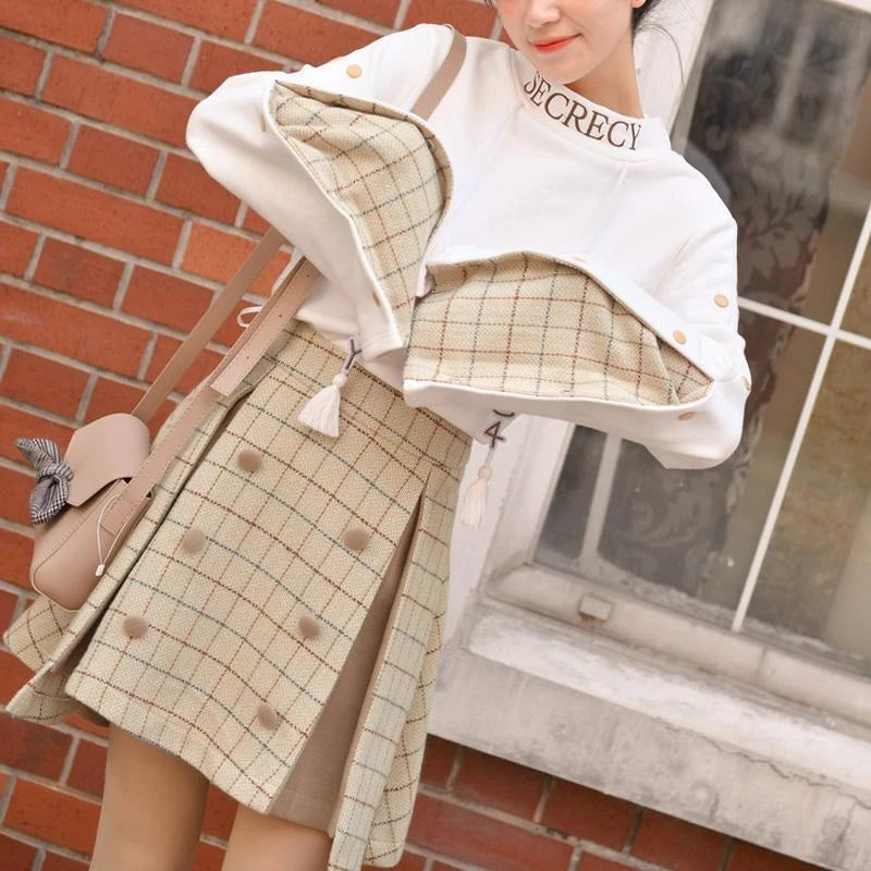 Best Kawaii - Kawaii Khaki A-Line Skirt Set