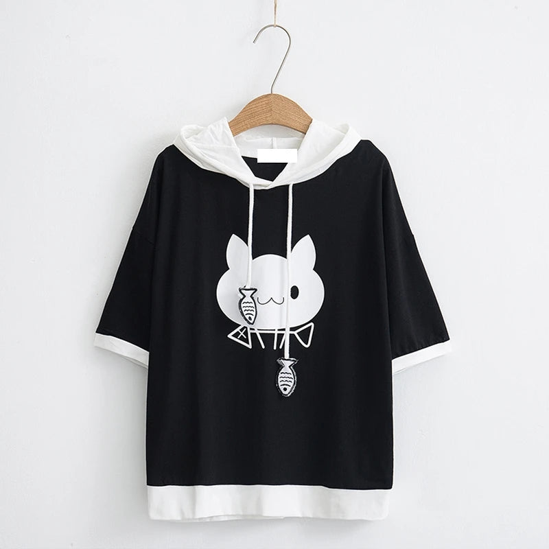 Best Kawaii - Kitty Black White Colorblock Hooded T-shirt