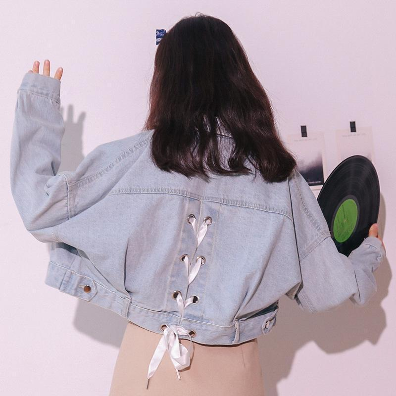 Best Kawaii - Korean Lace-up Back Denim Jacket