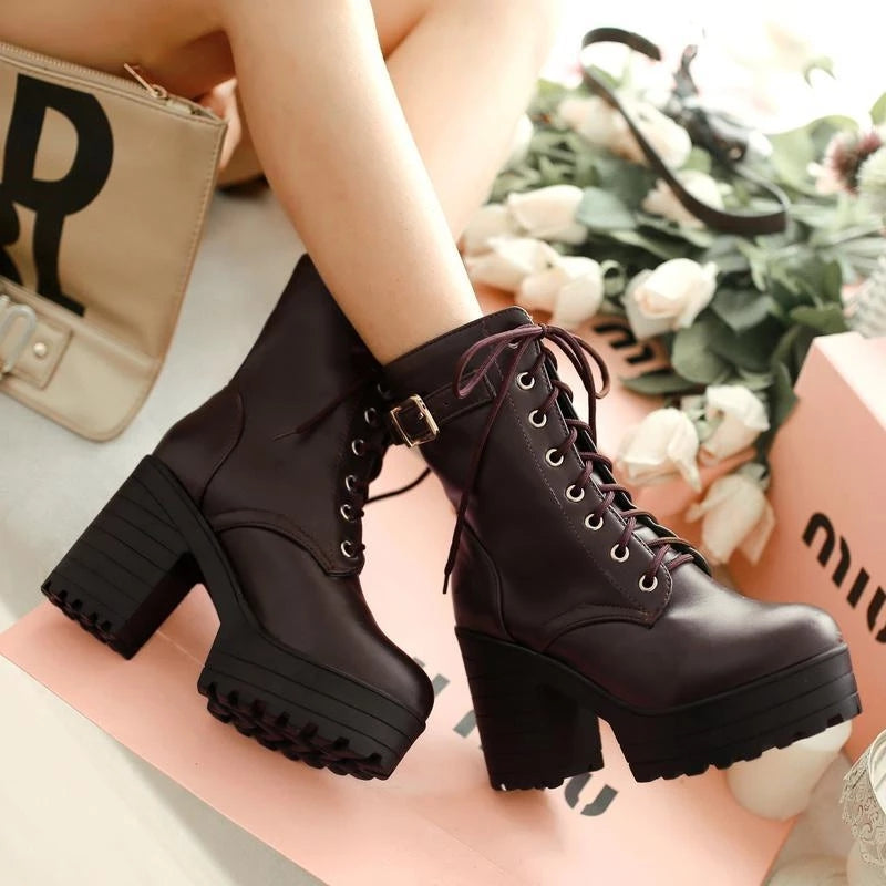 Best Kawaii - Lace-up High Heel Boots