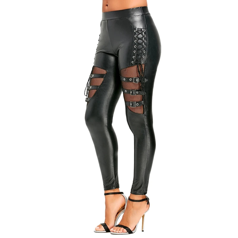 Lace Up Leather Hollow Leggings