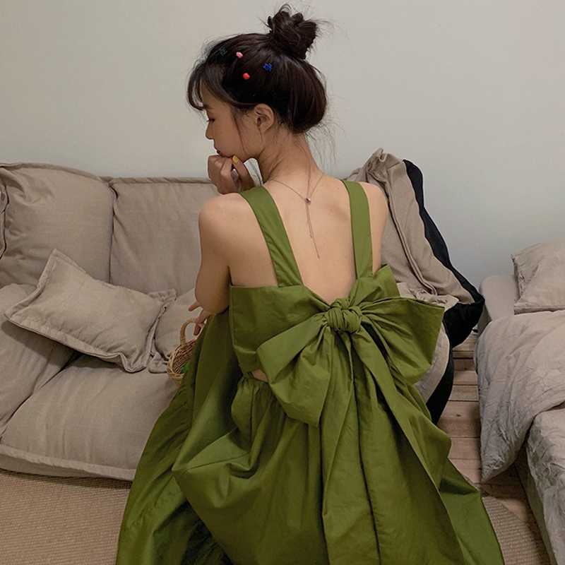 Best Kawaii - Large Bow Tie Open Back Summer Slip Dress