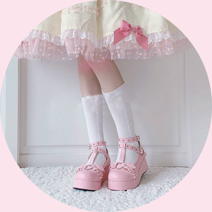 Little Bat Gothic Punk Belts Lolita Platform Shoes