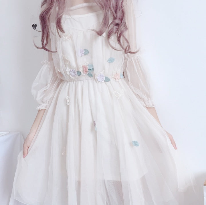 Best Kawaii - Lolita Lantern Sleeve Gauze Dress