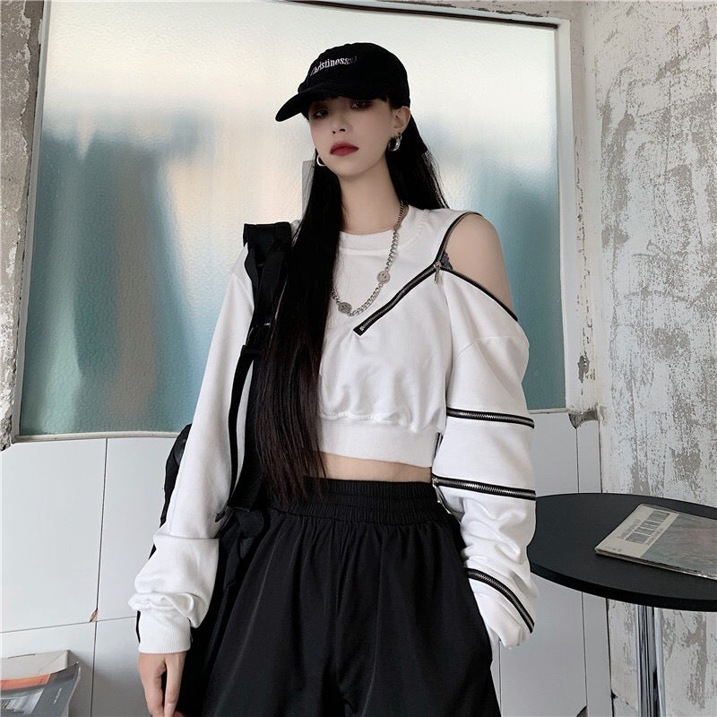 Off-shoulder Zipper Long-sleeve Sweatshirt