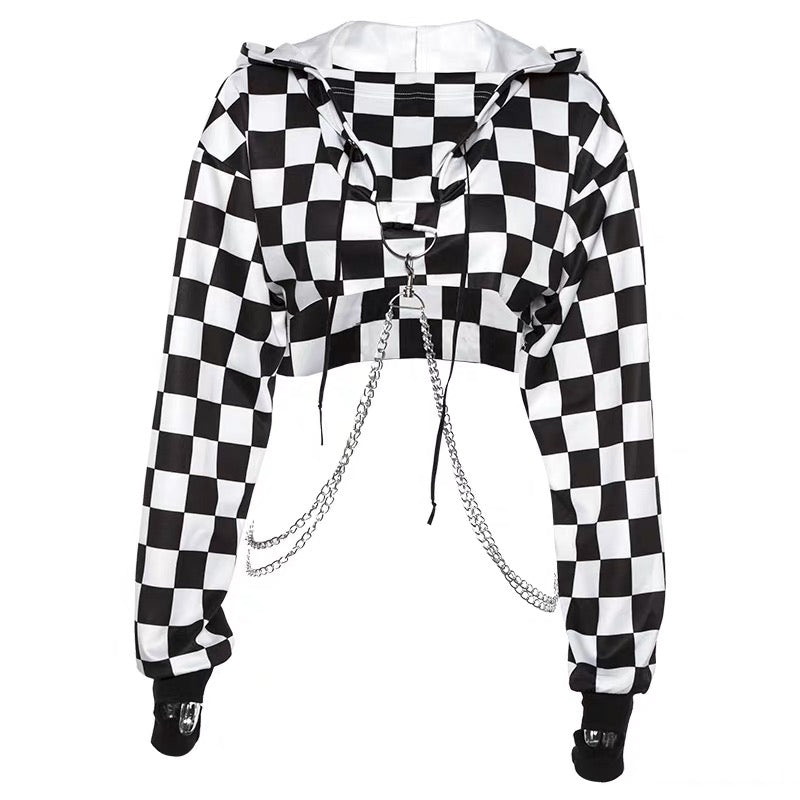 Punk Suspender Plaid Cropped Hoodies