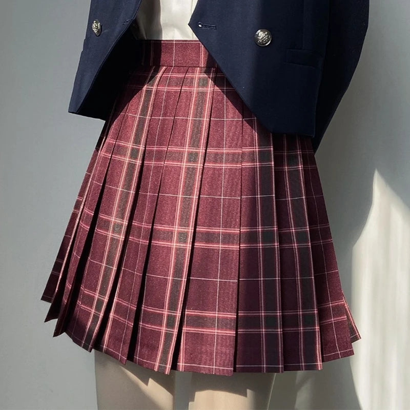 Best Kawaii - Red Plaid Pleated College Style High Waist Skirt