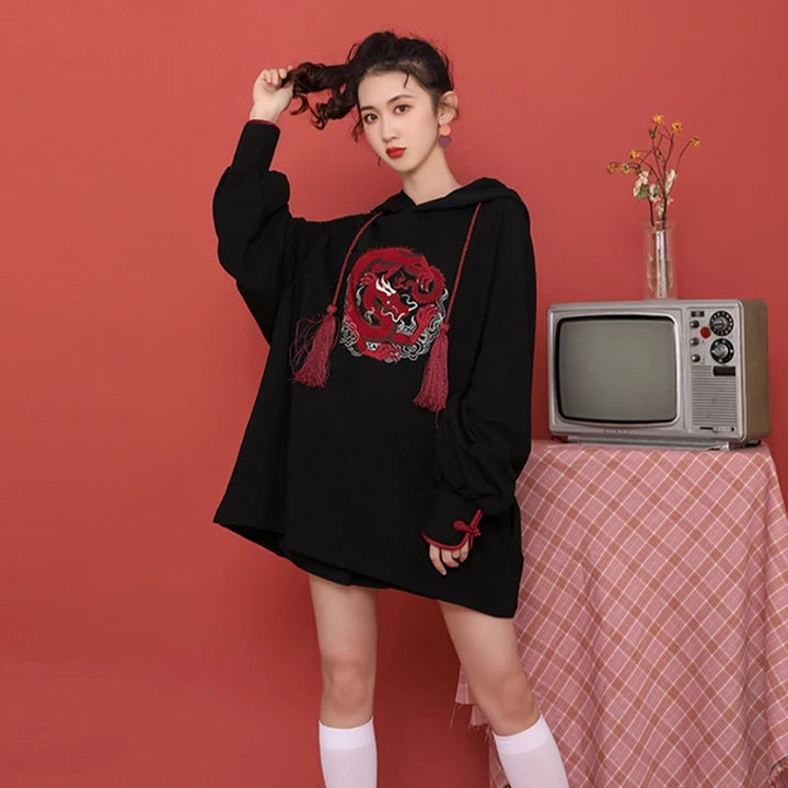 Best Kawaii - Rose Dragon Embroidery Tassels Hoodie Dress