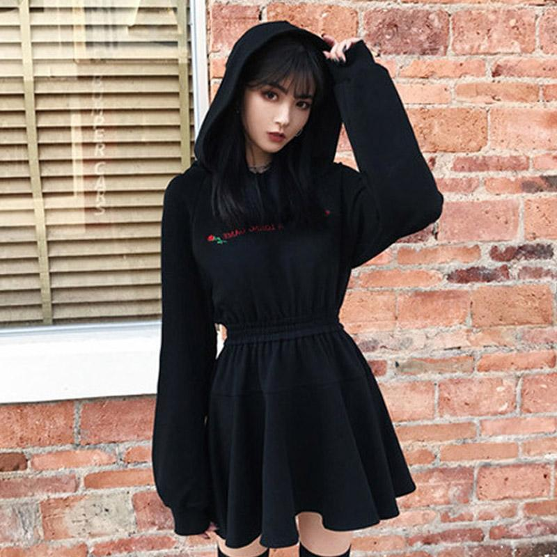 Best Kawaii - Rose Letter High Waist Hooded Black Dress