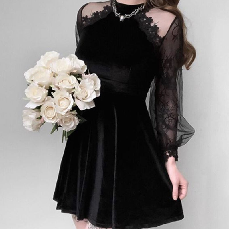 Stand-up Collar Lace Sleeves Velvet Dress