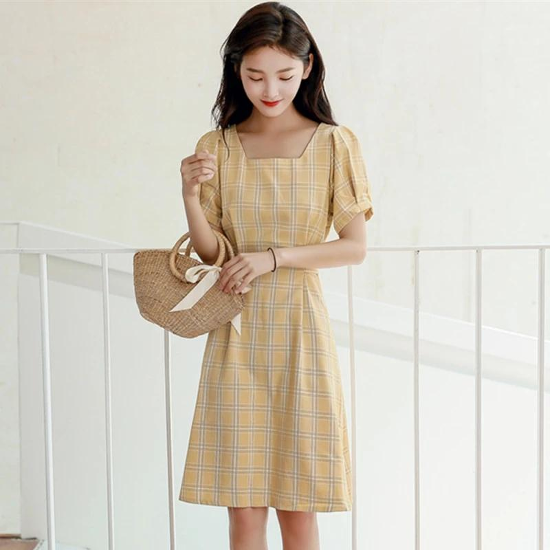 Best Kawaii - Sweet Cotton Plaid Dress