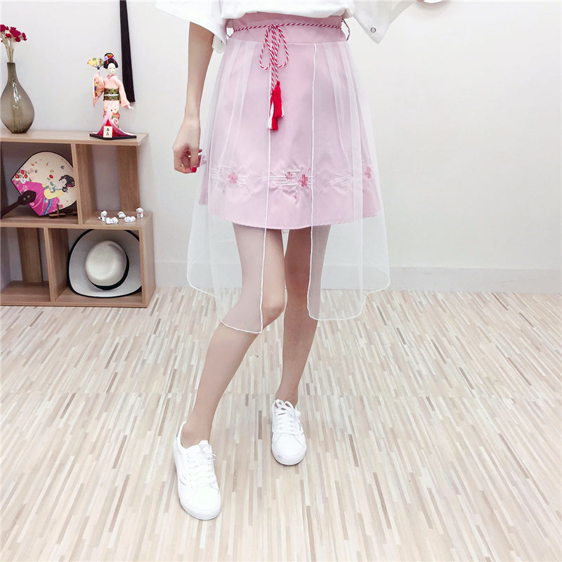 Best Kawaii - Embroidery A-Line Pleated Skirt