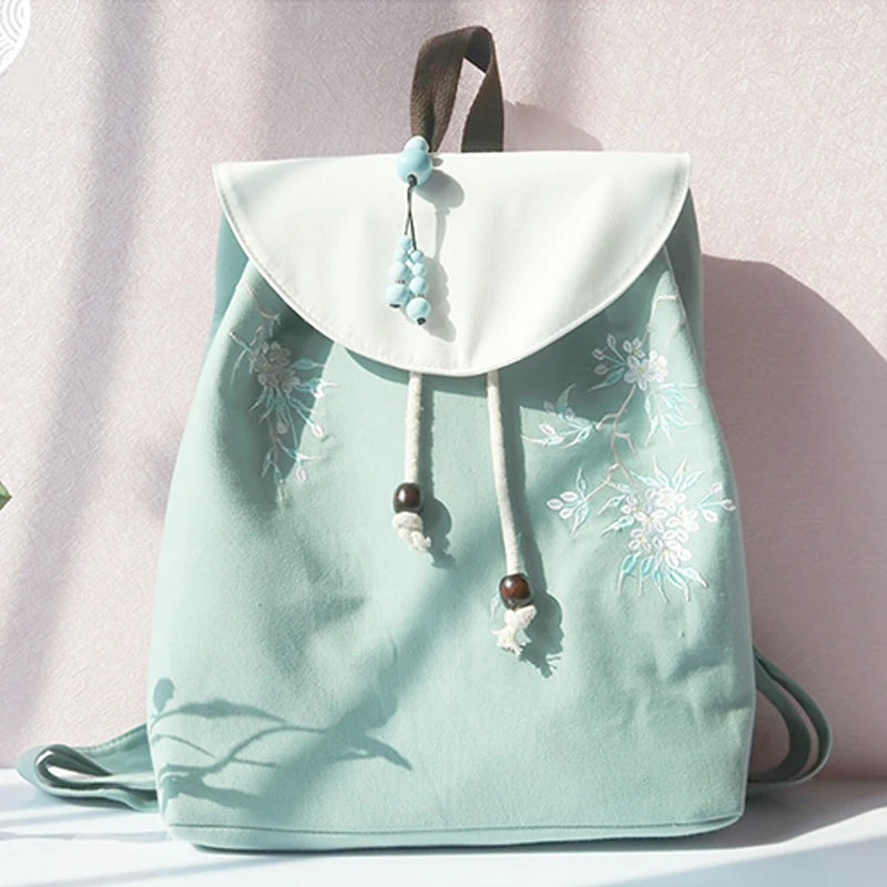 Best Kawaii - Vintage Flower Embroidery Backpack