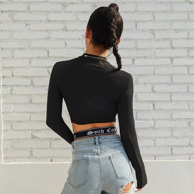 Webbing Shorts Sling Long-Sleeved Top
