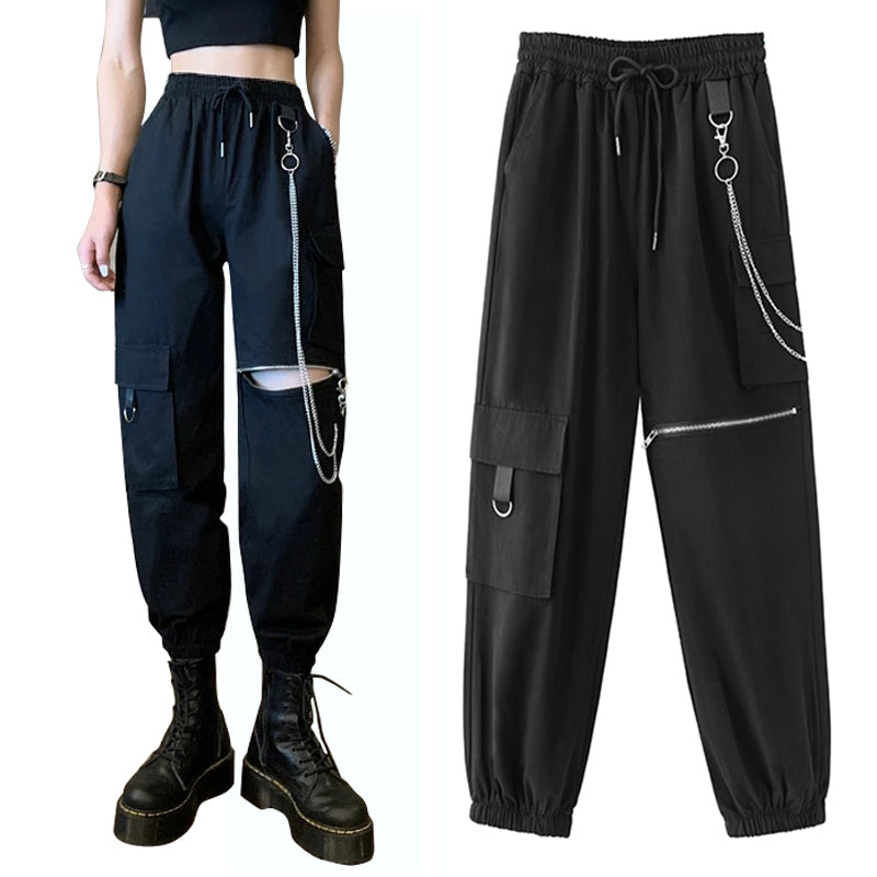 bestkawaii-chained-zipper-cargo-pants