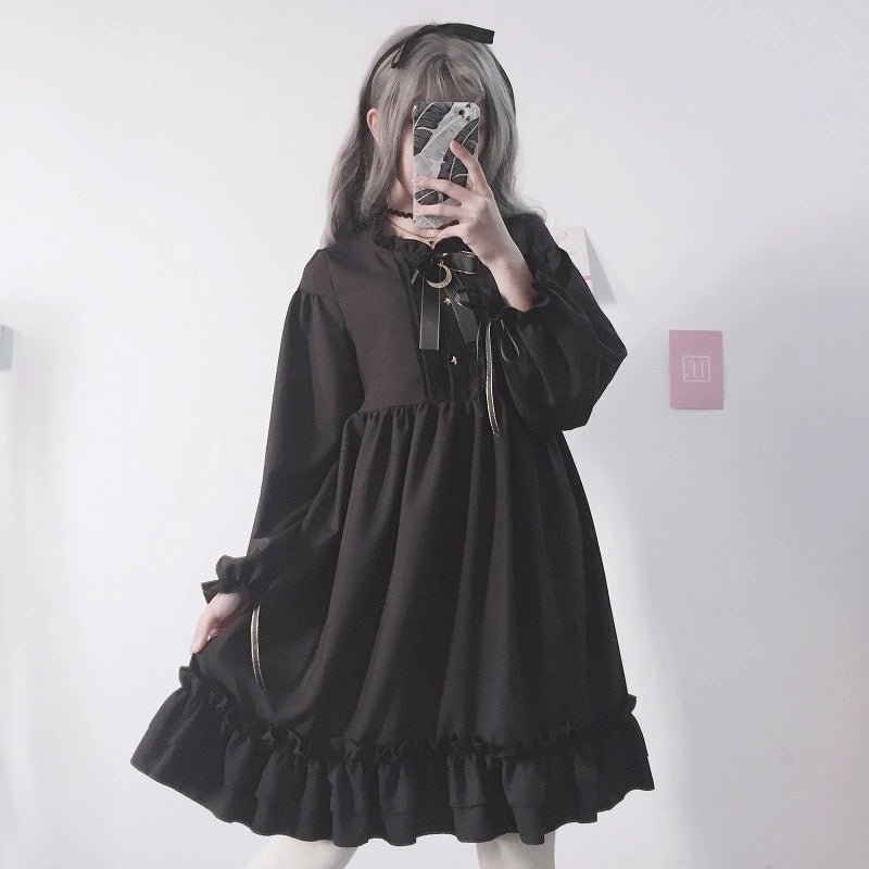Black Bow-Knot Flounced Dress