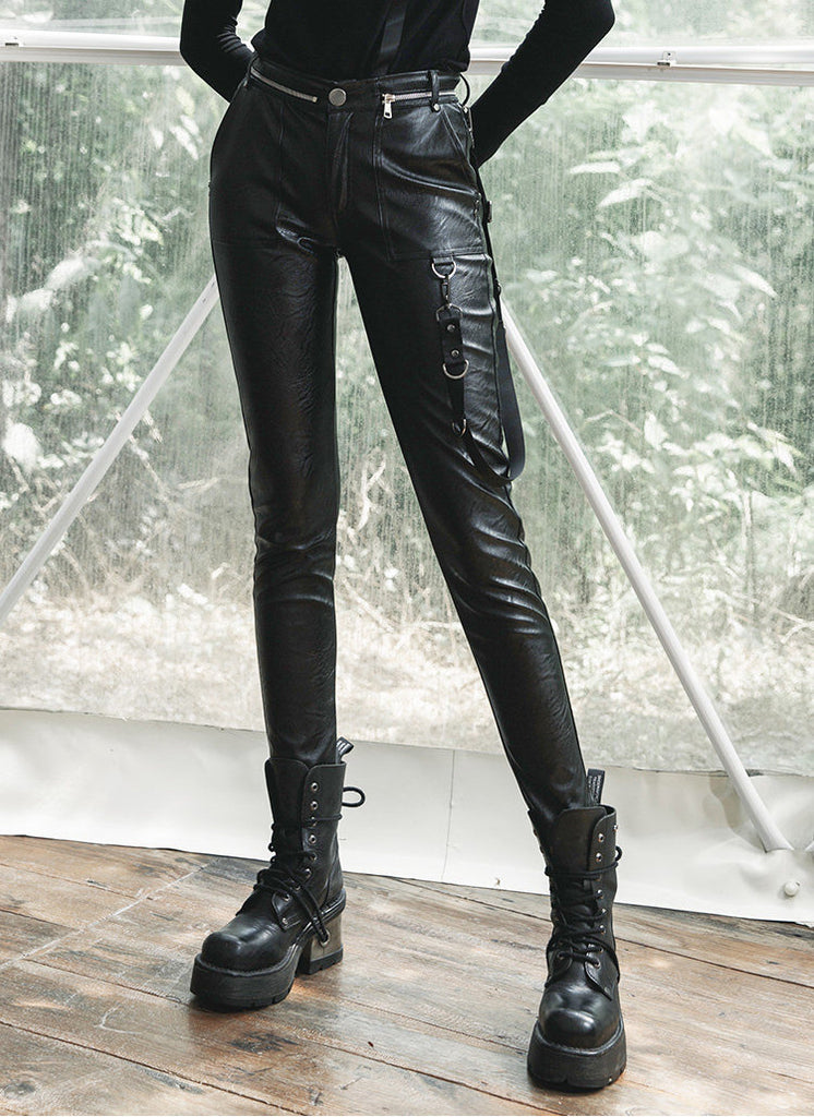 Punk Cargo PU Leather Pants