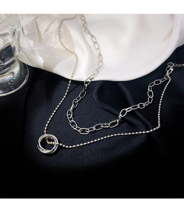 bestkawaii-ring-pendant-double-chain-choker-necklace-