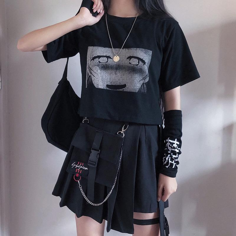bestkawaii-t-shirt-black-crop-top-s-ahegao-cartoon-print-t-shirt-with-sleepwalk-character-arm-sleeve-gothic-punk-fashion-