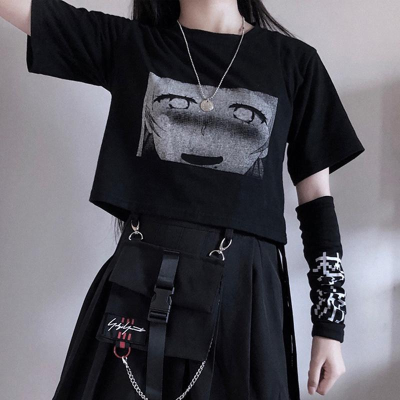 bestkawaii-t-shirt-black-crop-top-s-ahegao-cartoon-print-t-shirt-with-sleepwalk-character-arm-sleeve-gothic-punk-fashion-2