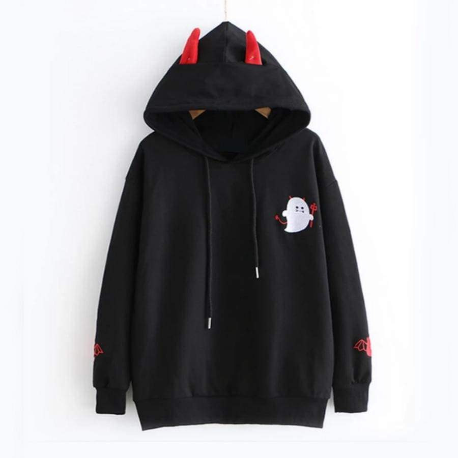 Cute Little Devil Embroidered Hoodie - Black / S - kw-hoodie