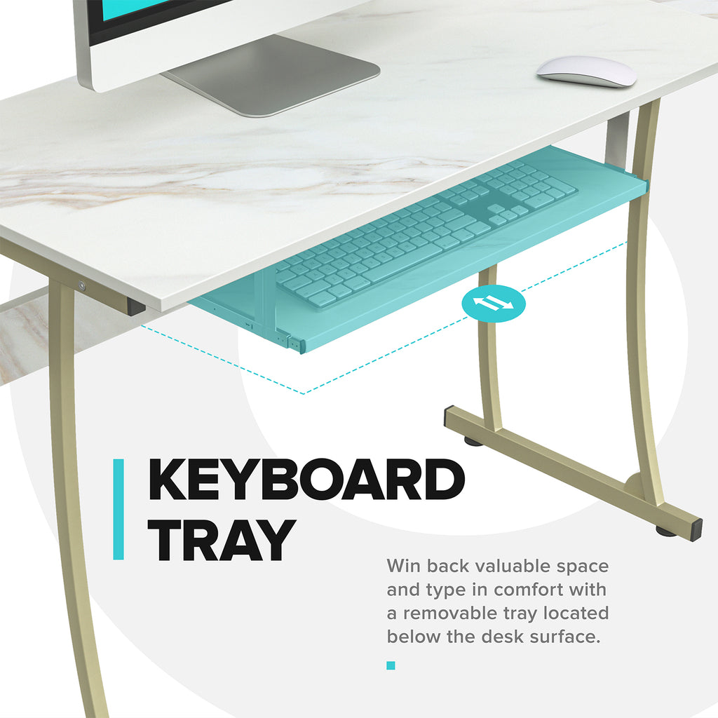 RIF6 L-Shaped Computer Desk - Modern Home Office Corner Desk with Keyboard Shelf Tray