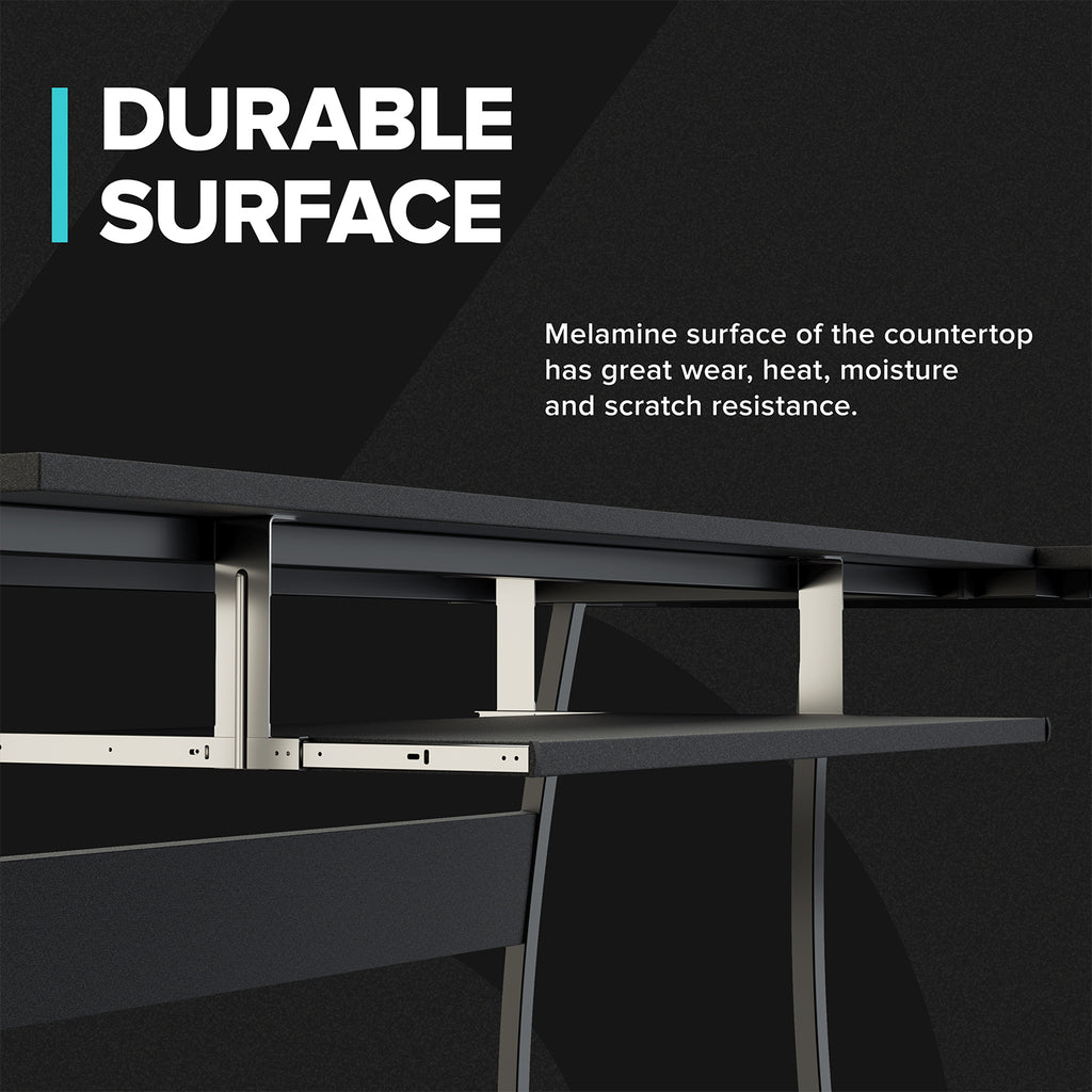 L-Shaped Computer Desk with Keyboard Shelf Tray