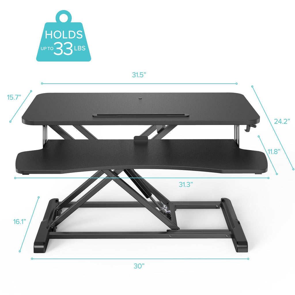Height Adjustable Standing Desk 32 inch holds 33 lbs