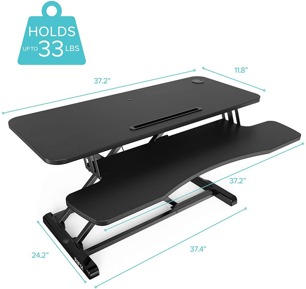 Height Adjustable Standing Desk 37 inch with concealed handles holds 33 lbs