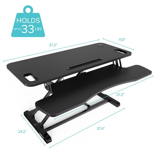 Height Adjustable Standing Desk 37 inch holds 33 lbs