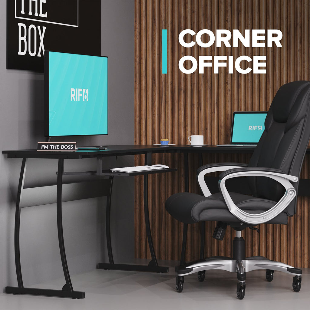 L-Shaped Compute Desk corner office set up