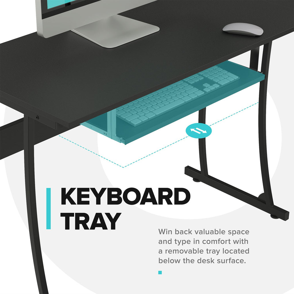 L-Shaped Compute Desk keyboard tray