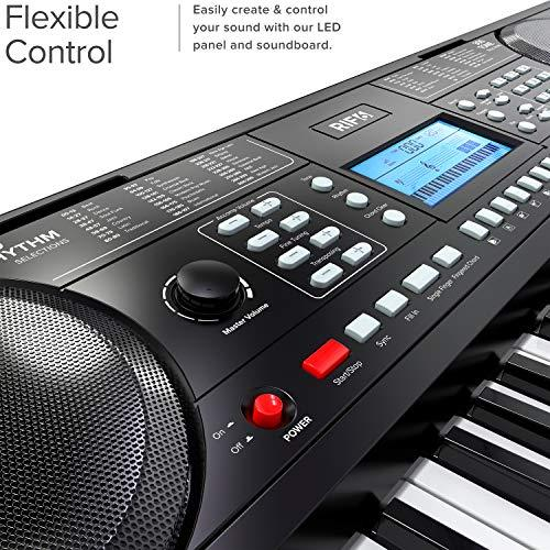 Portable 61 Key Electronic Piano Keyboard flexible control with easy to navigate LED panel