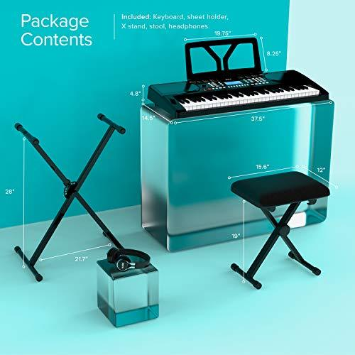 Portable 61 Key Electronic Piano Keyboard package contents including keyboard sheet holder stand stool and headphones