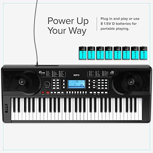 Portable 61 Key Electronic Piano Keyboard plug in and play or use eight 1.5v d batteries