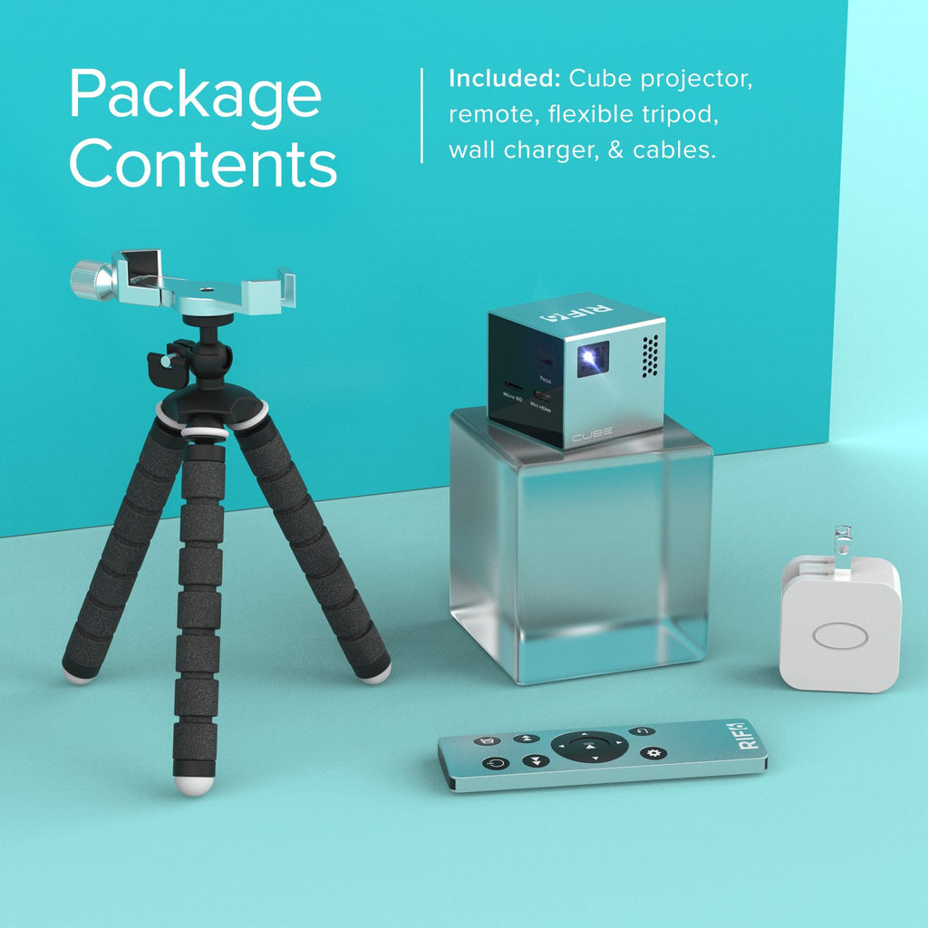 cube portable full led projector package contents