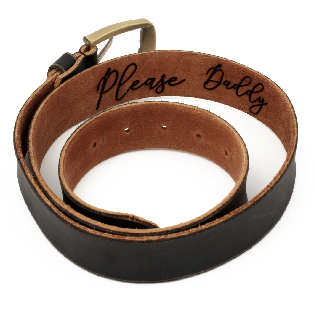 Please Daddy custom engraved brown leather belt