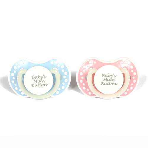 ABDL small adult baby pacifier. Cute pacifier with the words baby's mute button. Glow in the dark adult dummy in baby pink and white - nuk 3