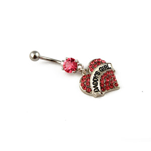 Daddy's girl DDLG body Jewellery - belly button bar for piercing with daddy's girl charm