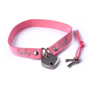 Ddlg custom locking heart BDSM collar. Cute day collar with baby girl text, padlock and keys