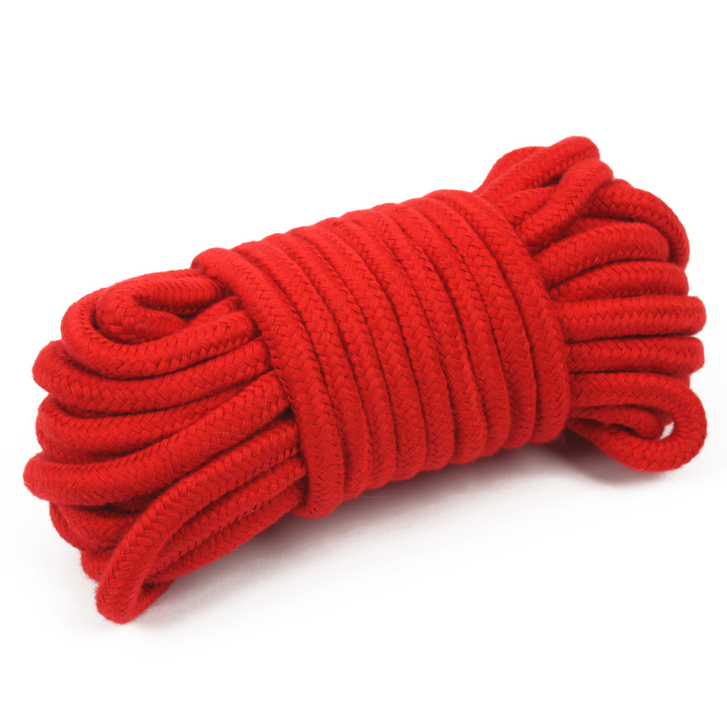Soft cotton bondage rope in red - 10 meter length