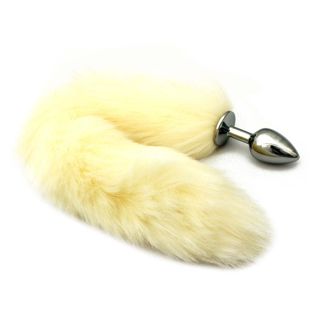 Off white faux fur pet play tail with plug