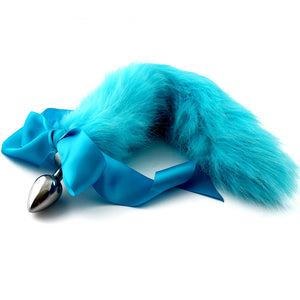 Bright blue hand dyed petplay tail butt plug. Beautiful faux fur hand dyed to create this custom kitten play tail bdsm tail