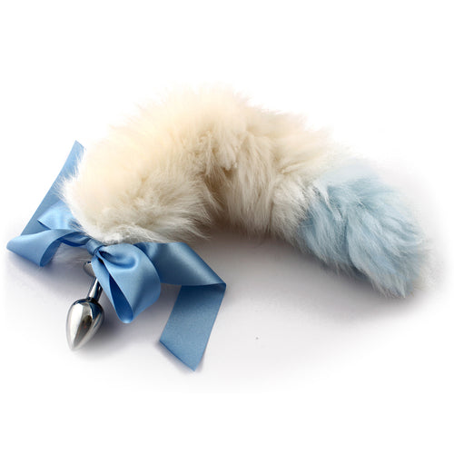 Blue tip white petplay tail butt plug. Beautiful faux fur hand dyed to create this custom kitten play tail bdsm tail