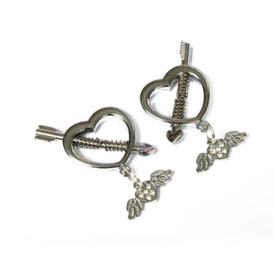 BDSM nipple clamps - advanced use only. Heart nipple clamps with heart charms. Perfect for DDLG/ Bdsm/ bondage play