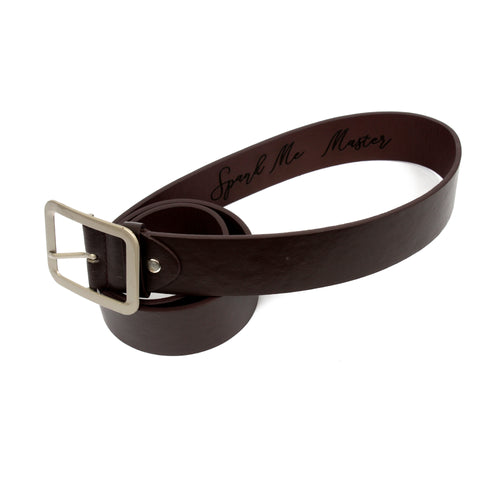 Custom engraved brown faux leather belt