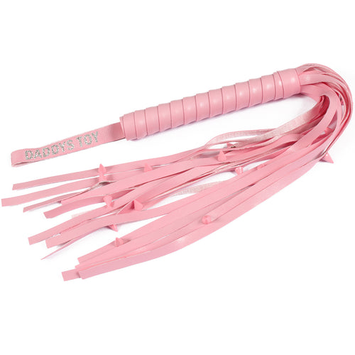 DDLG flogger - mature pink faux leather whip with personalised daddy's toy handle and a sadists dream, spikes!