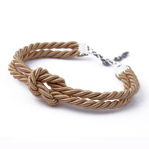 Adorable gold shibari bondage rope inspired BDSM bracelet