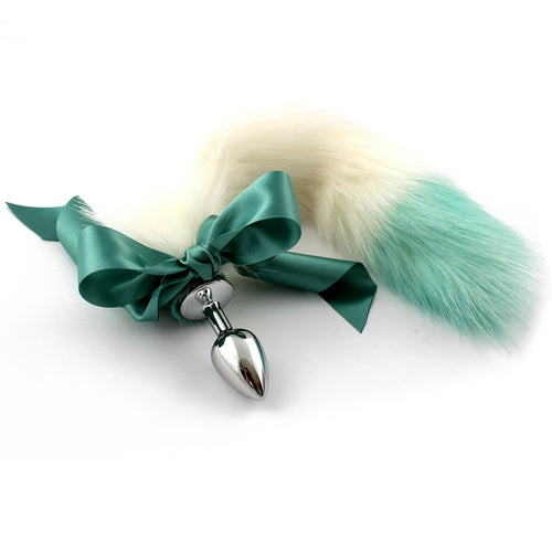 White and green dip dyed fur tail. Custom kitten play tail