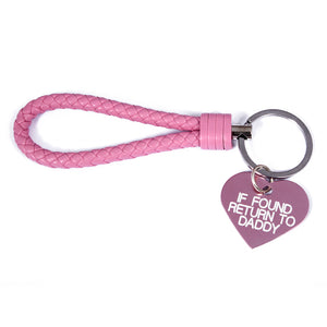 Custom engraved ddlg keyring - BDSM key chain - if found return to daddy
